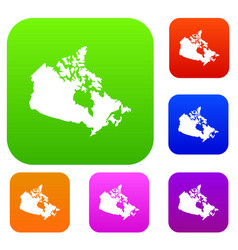 canada map set color collection vector image vector image