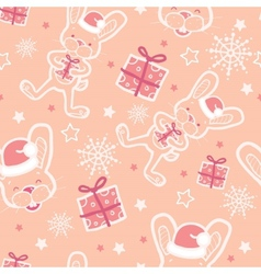 Christmas bunny with gifts seamless pattern vector image vector image