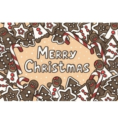 Christmas card with gingerbread vector image vector image