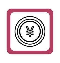 Coin yen money isolated icon vector