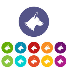 Collie dog set icons vector