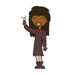 comic cartoon friendly witch girl vector image vector image