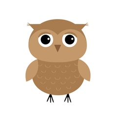 Cute owl bird character Flat design Isolated White vector image