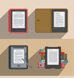 Electronic books icon set flat electronics vector