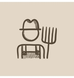 Farmer with pitchfork sketch icon vector