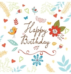 Happy birthday card with flowers vector