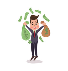 happy millionaire character hoding money bags vector image vector image