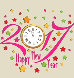 Happy new year 2017 clock and colorful vector