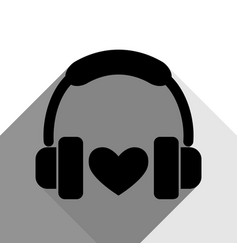 headphones with heart black icon with two vector image vector image