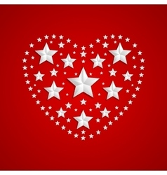 Heart symbol made of gray stars on red background vector image vector image