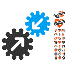 integration gears icon with love bonus vector image