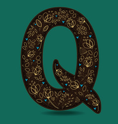 Letter q with golden floral decor vector