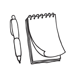 Note pad and pen icons outlined vector