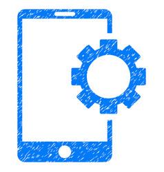 Phone setup gear grunge icon vector