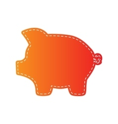 Pig money bank sign orange applique isolated vector