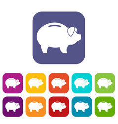 Piggy icons set vector