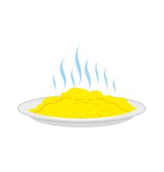porridge on plate isolated hot food on dish vector image