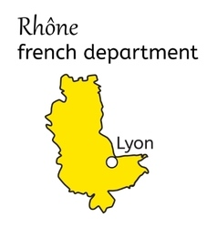 Rhone french department map vector