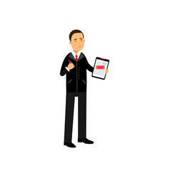 Sad businessman character holding rejected vector