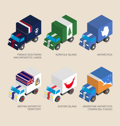 set of isometric 3d cargo with flags vector image vector image