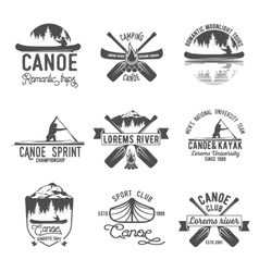 Set of vintage canoeing logo vector