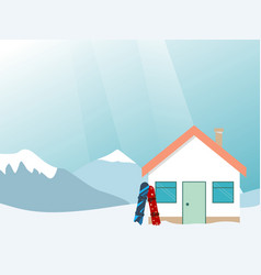 Ski resort banner mountains landscape village vector