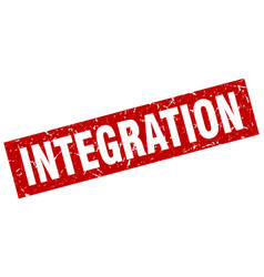 Square grunge red integration stamp vector