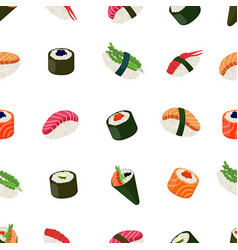 Sushi seamless pattern - asian food vector
