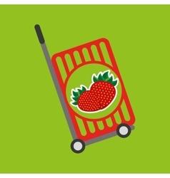 Trolley shop juicy strawberry fruit vector