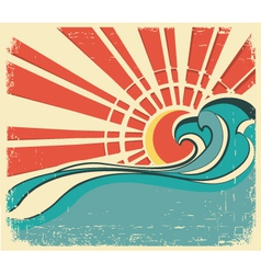 Sea wavesvintage of nature poster with sun on old vector