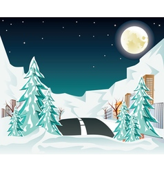 Night Winter Road to City2 vector image