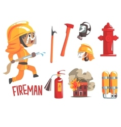 Boy fireman kids future dream fire fighter vector