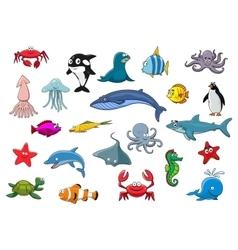 Cartoon sea fish and ocean animals icons vector