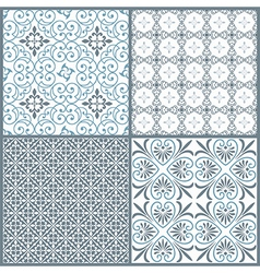 Set of four vintage decorative symmetric seamless vector image