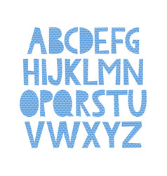 Cute hand drawn alphabet with sea pattern vector