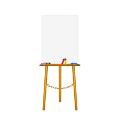 Blank art board wooden easel and highlighters vector