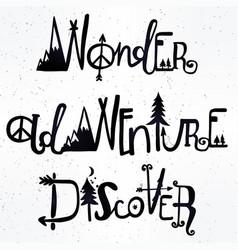 Wonder adventure discover lettering set vector