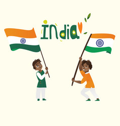 Two boys kids teenagers holding indian flags vector