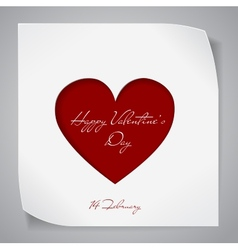 Valentines day background with red cutting heart vector