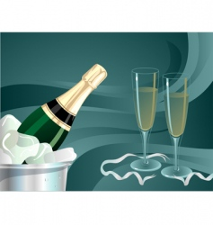 Champagne bottle and glass glow vector
