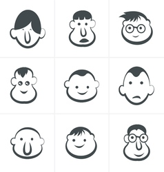 Laughing childrens faces set vector