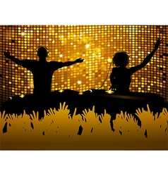 Female and male dj party background vector
