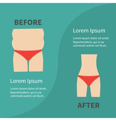Before after infographic woman fat and skinny vector