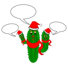 A funny christmas cactus with speech bubbles vector