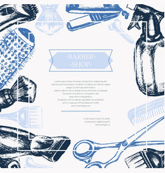Barber equipment - hand drawn postcard vector