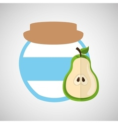 big jar jam pear icon design vector image