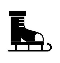 Black icon ice skate cartoon vector