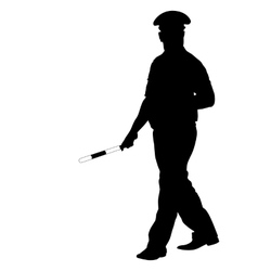 Black silhouettes of Police officer with a rod on vector image vector image