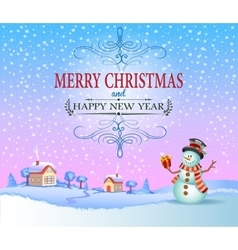 Christmas greeting card in vintage style vector image vector image