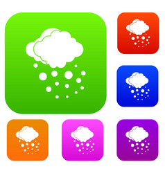 Cloud with hail set collection vector